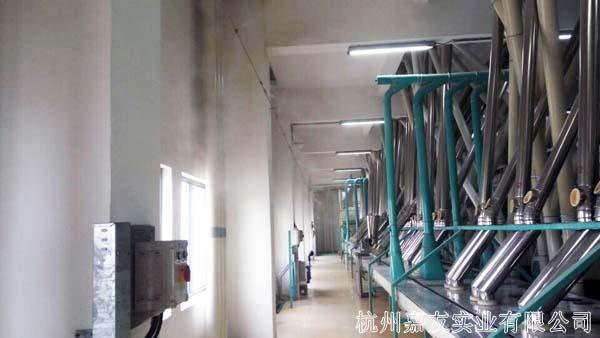 面粉车间高压微雾加湿器安装案例